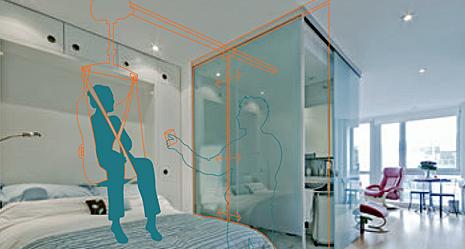Ejemplo de la configuración de una grúa de techo. Un diseño sencillo permite mediante un raíl recto unir la cama, con el cuarto de baño, pasando por el WC, lavabo y ducha o bañera.