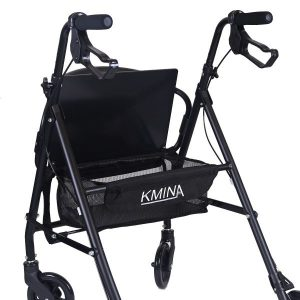 Andador Kmina Comfort Rollator, realizado en aluminio, 4 ruedas giratorias, con asiento viscoelástico y plegable, disponible en Ortopedia Plantia de Donostia - San Sebastián