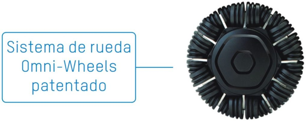 Ruedas delanteras OmniWheel que incorpora la silla de ruedas eléctrica APEX Whill C, disponible en la Ortopedia Plantia de Donostia - San Sebastián
