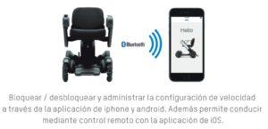 Conexión mediante Bluetooth a un smartphone de la silla de ruedas eléctrica APEX Whill C y posibilidad de controlar desde el móvil la silla eléctrica.