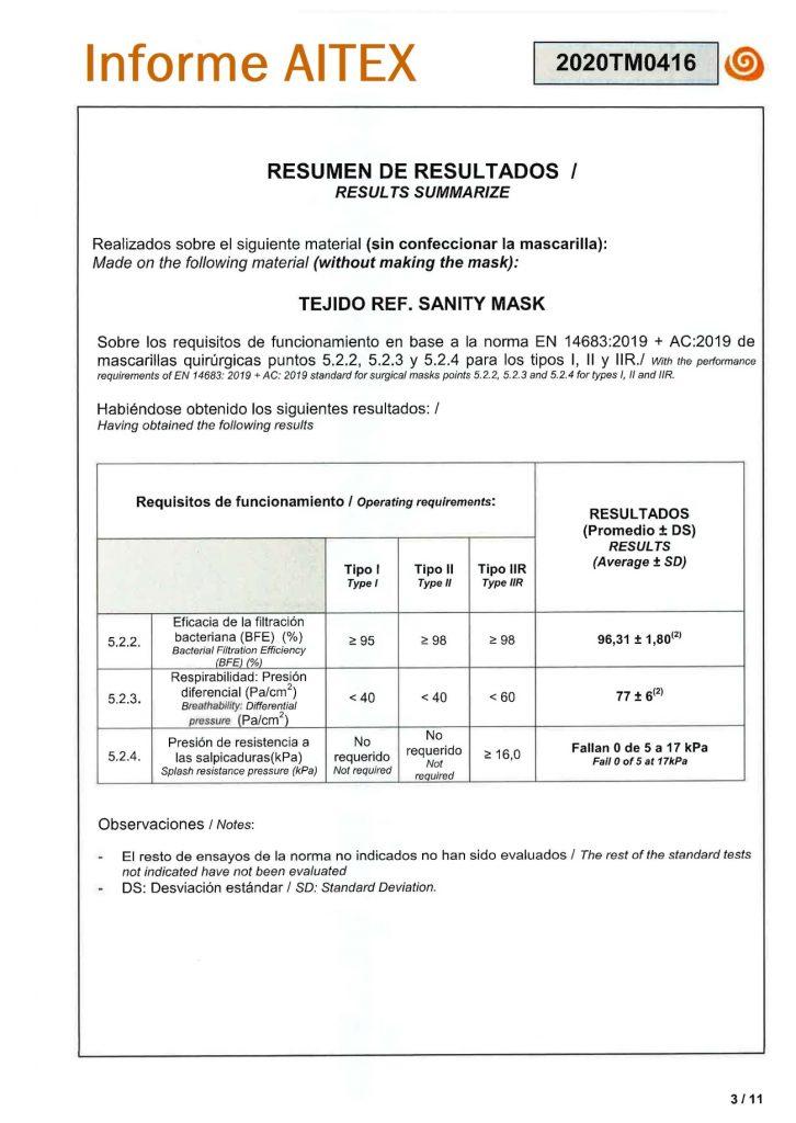 Informe del Organismo Notificado Aitex, sobre las características sanitarias de protección que aporta el tejido Sanity Mask, utilizado en la elaboración de las mascarillas reutilizables BC30