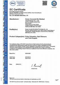 Certificado CE del Pulsioxímetro FS20C que vendemos en Plantia Ortopedia de Donostia - San Sebastián